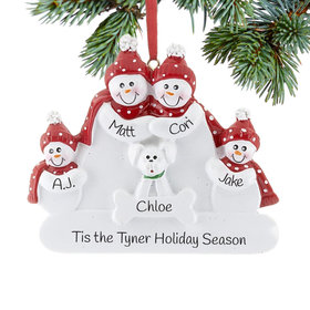 Personalized Snowman Family of 4 with White Dog Christmas Ornament
