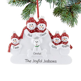 Personalized Snowman Family of 5 with White Dog Christmas Ornament