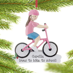 Personalized Girl Riding Pink Bike Christmas Ornament
