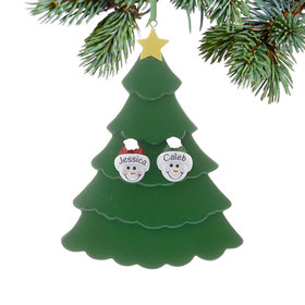 Personalized Green Tree Snowman Faces 2 Christmas Ornament