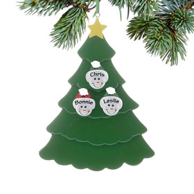 Personalized Green Tree Snowman Faces 3 Christmas Ornament