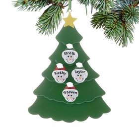 Personalized Green Tree Snowman Faces 4 Christmas Ornament