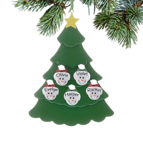 Personalized Green Tree Snowman Faces 5 Christmas Ornament