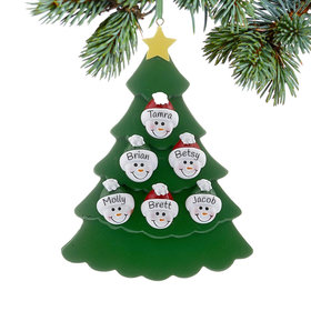 Personalized Green Tree Snowman Faces 6 Christmas Ornament