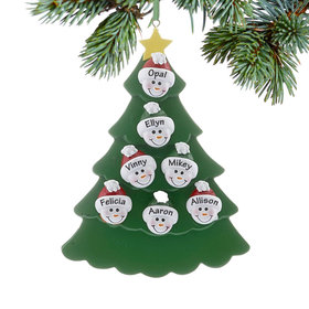 Personalized Green Tree Snowman Faces 7 Christmas Ornament