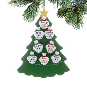 Personalized Green Tree Snowman Faces 8 Christmas Ornament