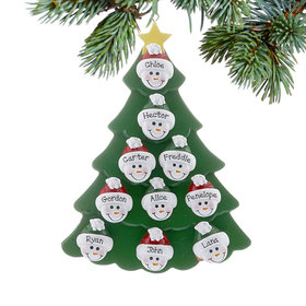 Personalized Green Tree Snowman Faces 10 Christmas Ornament