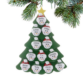 Personalized Green Tree Snowman Faces 12 Christmas Ornament