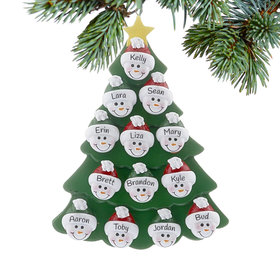Personalized Green Tree Snowman Faces 13 Christmas Ornament