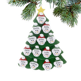Personalized Green Tree Snowman Faces 14 Christmas Ornament