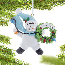 Personalized Snowman Wreath (Blue) Christmas Ornament