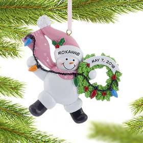 Personalized Snowman Wreath (Pink) Christmas Ornament