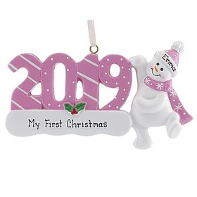 Personalized 2019 Snowman (Pink) Christmas Ornament