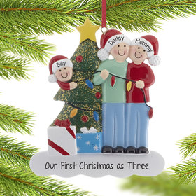 Personalized Family of 3 with Christmas Lights Christmas Ornament