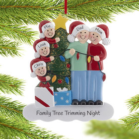 Personalized Family of 5 with Christmas Lights Christmas Ornament