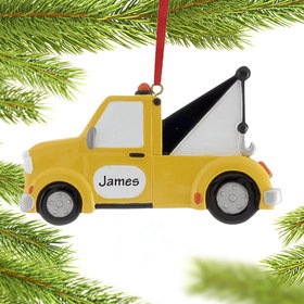 Personalized Yellow Tow Truck Christmas Ornament