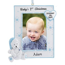 Personalized Baby's First Christmas Photo Frame Ornament (Blue) Christmas Ornament
