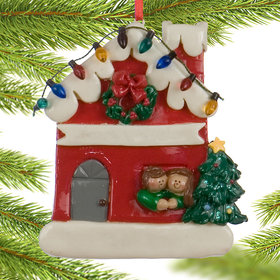 Couple in Red House with Lights Christmas Ornament