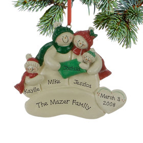 Personalized Snowman Family of 3 with New Baby Christmas Ornament