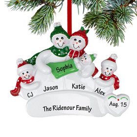 Personalized Snowman Family of 4 with New Baby Christmas Ornament