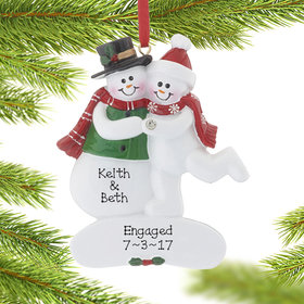 Personalized Engaged Couple with Diamond Ring Christmas Ornament