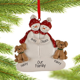 Personalized Snowman Couple with 2 Tan Dogs Christmas Ornament