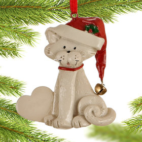 Cat with Heart (White) Christmas Ornament