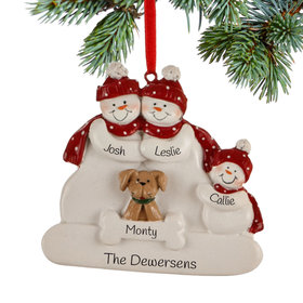 Personalized Snowman Family of 3 with Dog Christmas Ornament