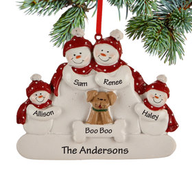 Personalized Snowman Family of 4 with Dog Christmas Ornament