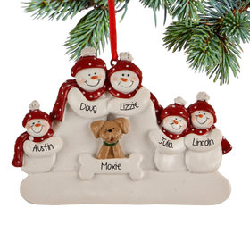 Personalized Snowman Family of 5 with Dog Christmas Ornament