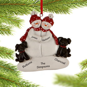 Personalized Snowman Couple with 2 Black Dogs Christmas Ornament