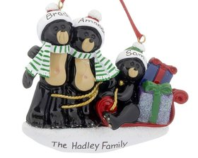 Personalized Black Bear Family Sled 3 Christmas Ornament