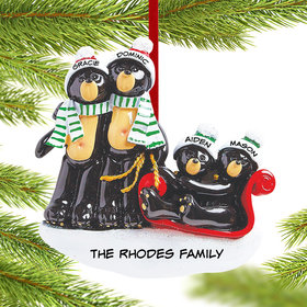 Personalized Black Bear Family Sled 4 Christmas Ornament