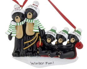Personalized Black Bear Family Sled 5 Christmas Ornament