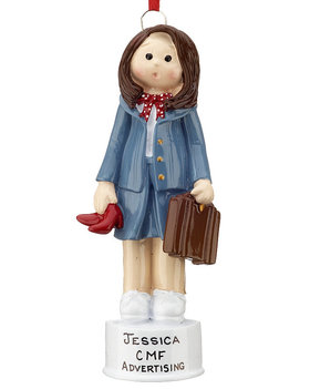 Personalized Business Woman with Brown Briefcase Christmas Ornament