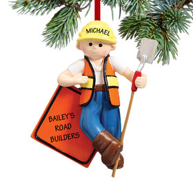 Personalized Road Construction Worker Christmas Ornament