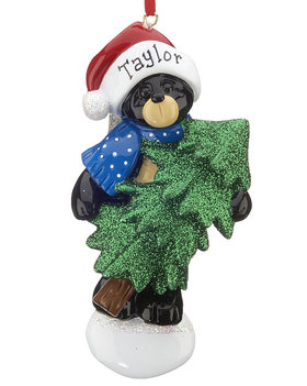 Personalized Black Bear Tree Christmas Ornament