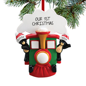 Personalized All Aboard Train Couple Christmas Ornament