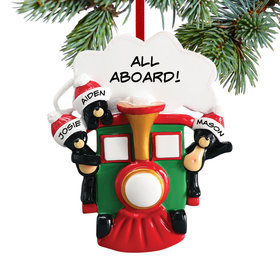 Personalized All Aboard Train Family of 3 Christmas Ornament
