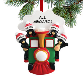Personalized All Aboard Train Family of 4 Christmas Ornament