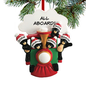 Personalized All Aboard Train Family of 5 Christmas Ornament