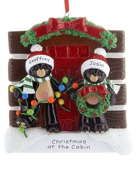 Personalized Log Cabin Bear Couple Christmas Ornament