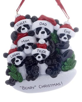 Personalized Panda Bear Family of 6 Christmas Ornament