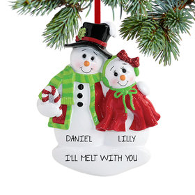 Personalized Snow Couple Hugging Christmas Ornament