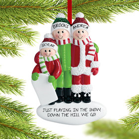 Personalized Playing in the Snow Family of 3 Christmas Ornament