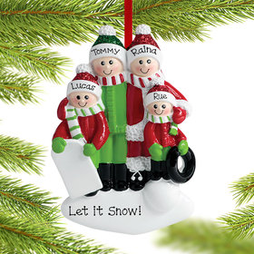 Personalized Playing in the Snow Family of 4 Christmas Ornament