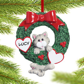 Personalized Cat Wreath (Grey Tabby) Christmas Ornament