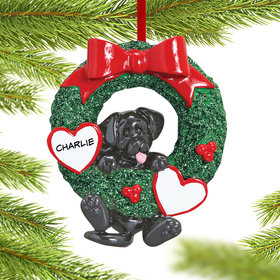 Personalized Dog Wreath (Black Lab) Christmas Ornament