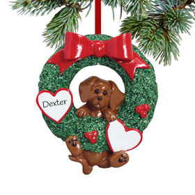 Personalized Dog Wreath (Brown Dog) Christmas Ornament