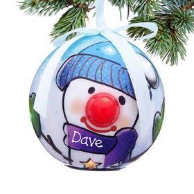 Personalized Blue Snowman Christmas Ornament